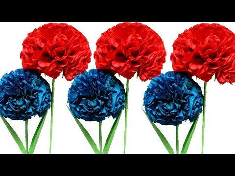 Amazing crepe paper flower making / DIY Paper Flowers / Handmade Room Decor Craft
