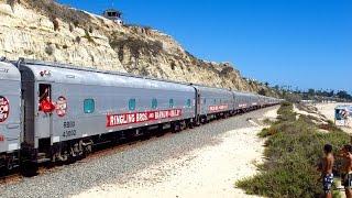 Ringling Bros Circus Train in San Clemente Beach in 2015