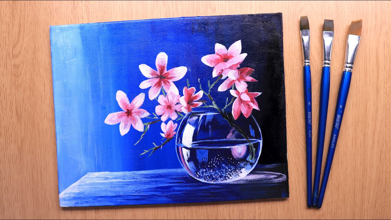Acrylic painting of beautiful and simple flowers