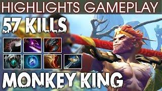 Monkey King Gameplay - WTF AMAZING Hero with 57 KILLS - Dota 2 Patch 7.00