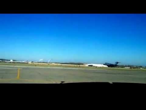 Huge Airforce jet taking off from downtown Kansas City airp
