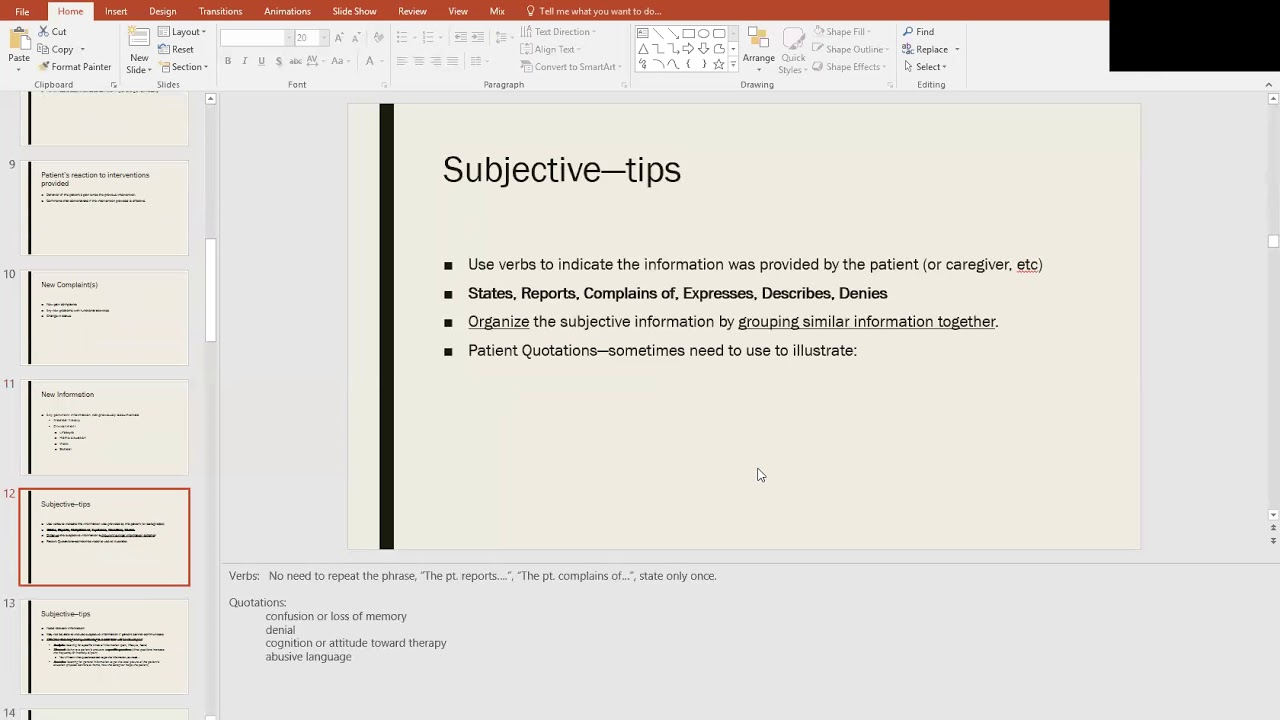 SOAP Note PowerPoint Presentation