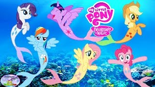 Repeat youtube video MY LITTLE PONY Transforms Into Mermaids MANE 6 Coloring Book Surprise Egg and Toy Collector SETC