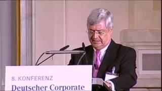 Rede des Vorsitzenden Regierungskommission Corporate Governance Kodex, Herrn Klaus-Peter Müller