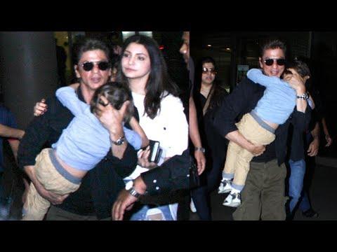 Shahrukh Khan CUTELY Carries AbRam Khan Who Falls Asleep In His Arms At Airport