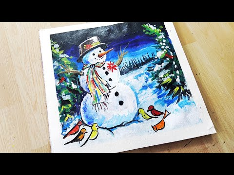 "Christmas ""SNOWMAN""  painting 