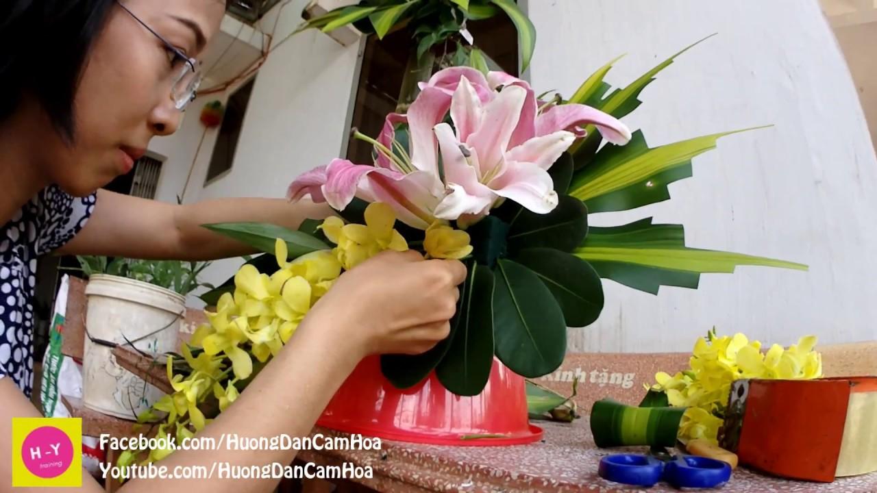 Cắm hoa bàn thờ tập 55  Lẳng Lily và Lan Vàng 2 tầng   HOA TẾT
