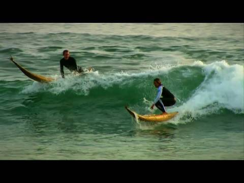 Surfing ancient-style surfboards in Peru w/Red Bull team