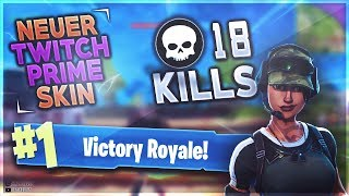 18 KILL SOLO GAMEPLAY ( NEUER TWITCH PRIME SKIN (Fortnite Battle Royale)