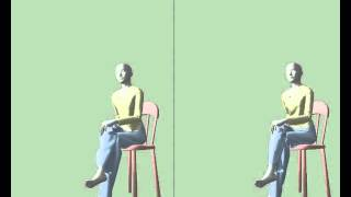 Lady sitting down and then standing up