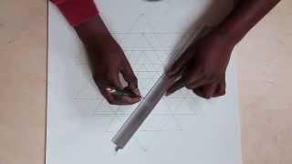 Drawing Shri Yantra - sacred geometry  - formula Karma Ratna
