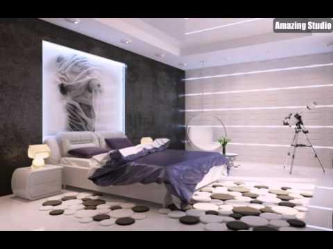 Moderne Lila Weiß Schwarz Schlafzimmer