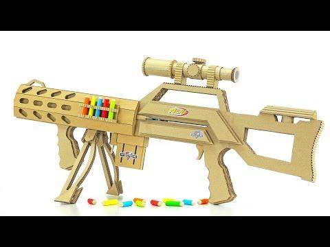 DIY Nerf Elite Sniper Rifle from Cardboard on 5 Bullets