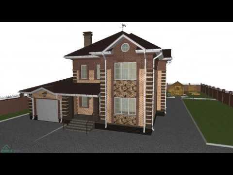 Проект эргономичного двухэтажного дома на 4 спальни с гаражом  D-175-ТП
