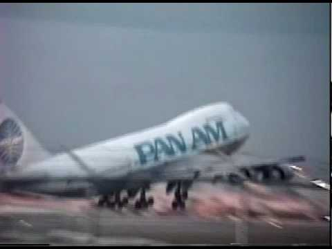 PAN AM 747, LAST FLIGHT OF PAN AM  TAKING OFF FROM MIAMI WINTER 1991