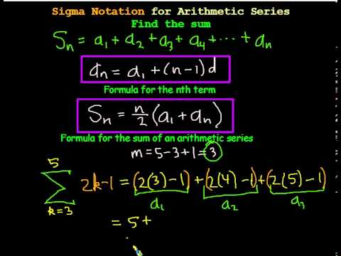 Arithmetic Series Using Sigma Notation To Find The Sum Youtube