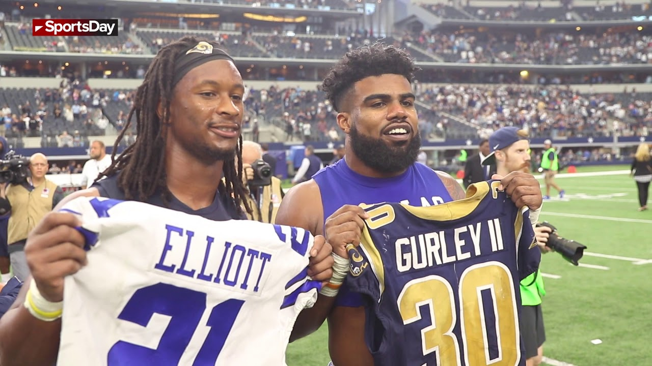 promo code 94c0d 6e24e Watch Ezekiel Elliott of the Dallas Cowboys jersey swap with Todd Gurley of  LA Rams