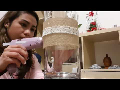 DIY vase with burlap decor