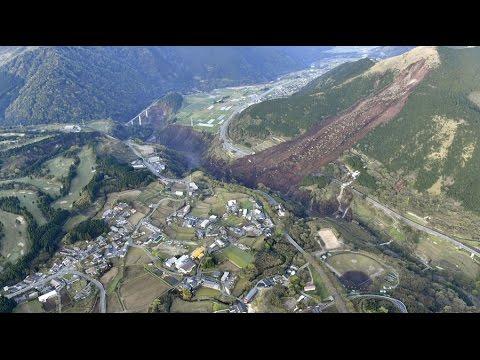 Recent Japan earthquake causes huge landslide 2016