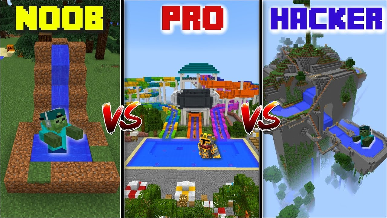 WATERPARK NOOB VS WATERPARK PRO VS WATERPARK HACKER / ZOMBIE TAKE OVER THE WATER SLIDE !! Minecraft