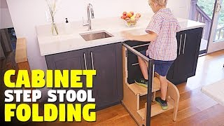 This Folding Step Stool Pulls Out From Cabinet