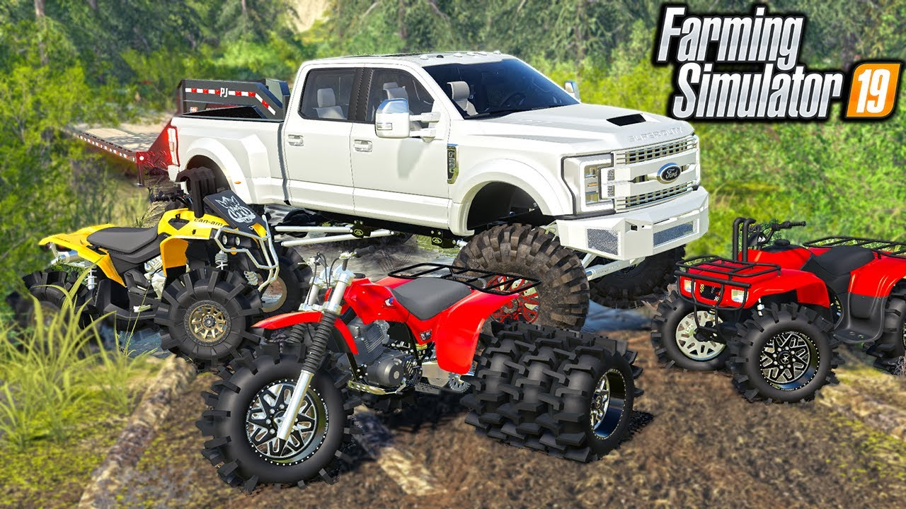 LIFTED ATV'S GOING MUDDING! (THREEWHEELER ON TRIPLES)   FARMING SIMULATOR 2019