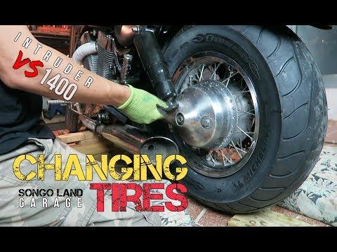INTRUDER VS 1400 SUZUKI [ How to .. ? Replace tires ]  @ SongoLand Garage
