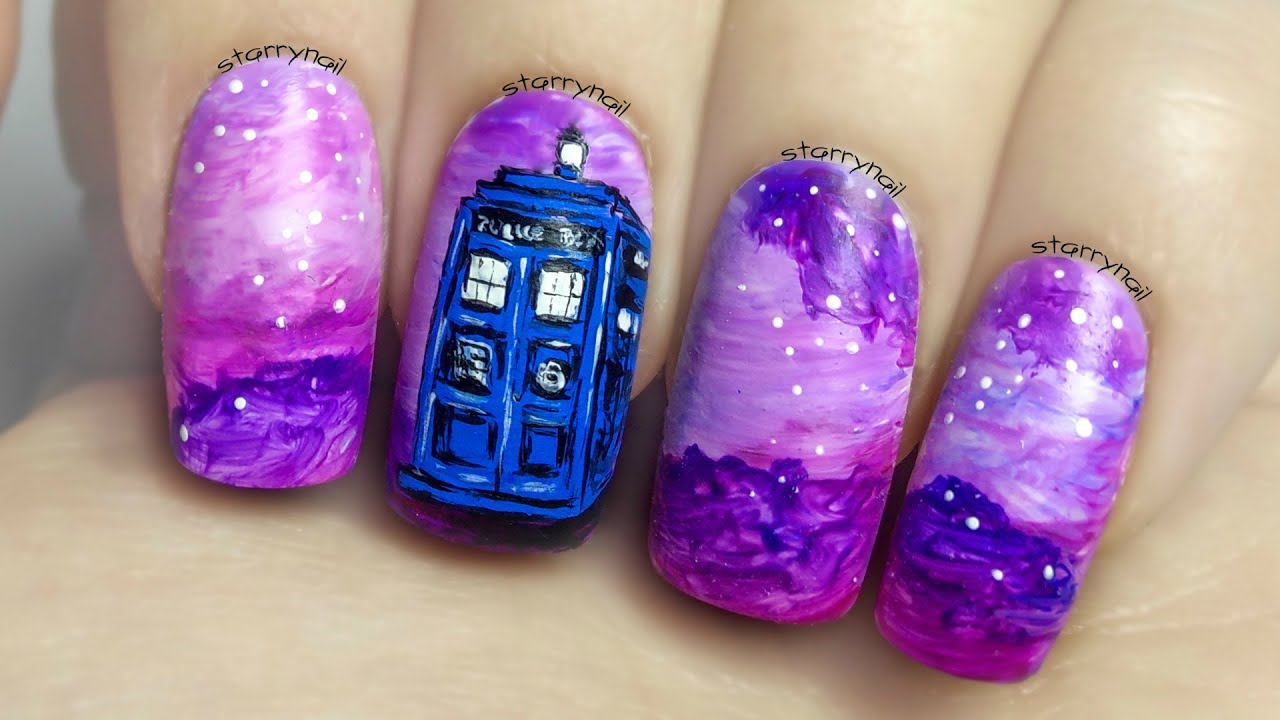 Tardis Doctor Who Freehand Nail Art Tutorial Youtube