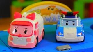 Мультфильм из Игрушечных Машинок: Робокар Поли - игрушечная автомойка