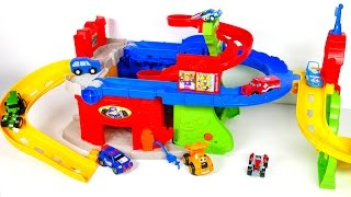Car playset with a Gas Pump and Slides for Toy Vehicles! Learn Colors Compilation Video for Kids