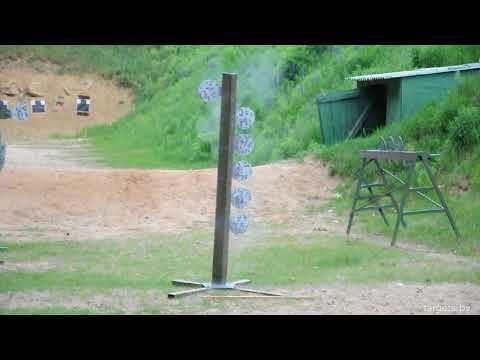 AK-104, Sig Sauer 9x19 Shooting on Dueling Tree Steel Target
