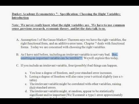 7 Econometrics Specification 1: Selecting the right variables overview