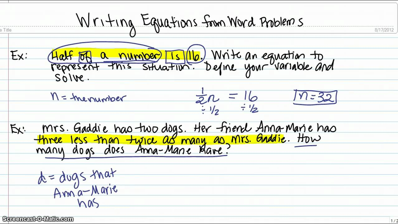 Worksheet Math Word Equations writing equations from word problems youtube problems