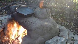 примитивная печь из глины через год использования. примитивные технологии