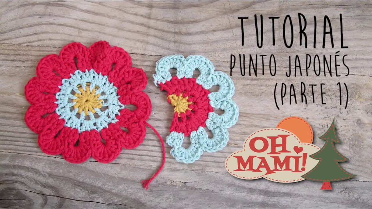 Cómo hacer Flor Japonesa a crochet- How to crochet japanese flower ...