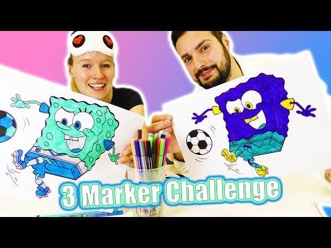3 MARKER CHALLENGE - Kathi vs Kaan: Spongebob Schwammkopf! Ausmalbild in verrückten 3 Farben