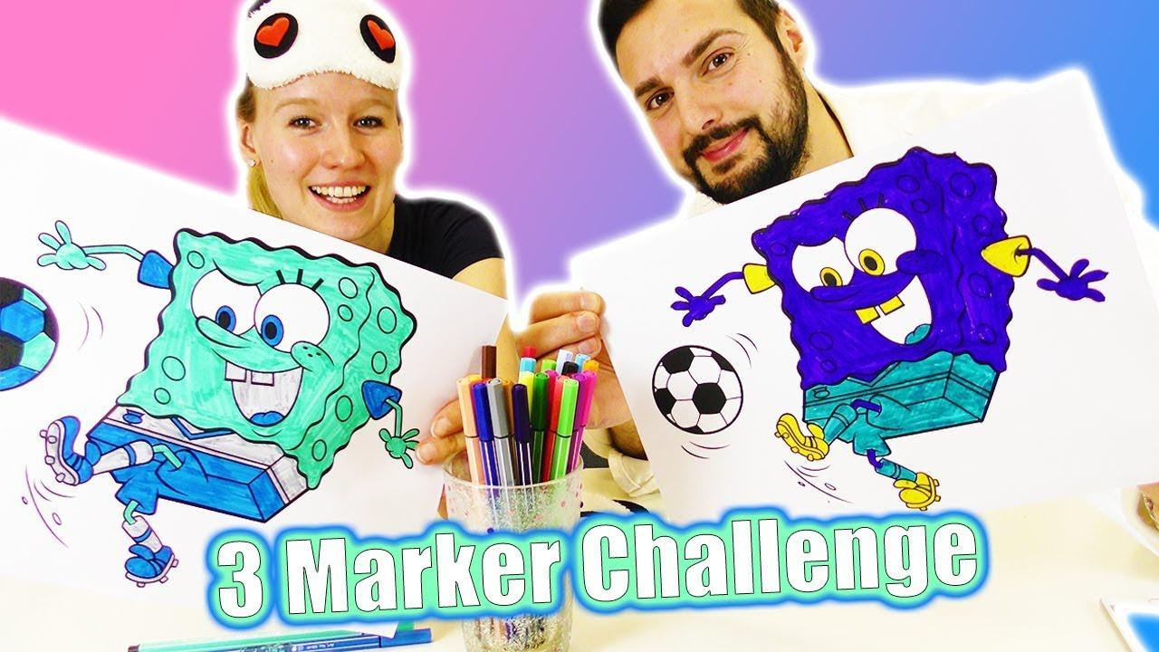 3 Marker Challenge Kathi Vs Kaan Spongebob Schwammkopf