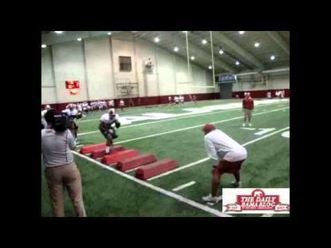 Alabama running backs work on ball security
