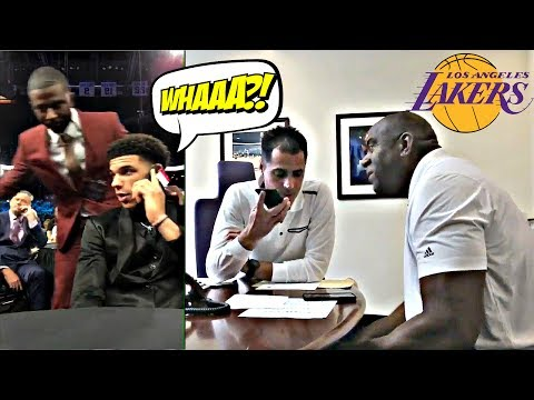 Lonzo Ball REACTION To Magic Johnson Draft Call (BOTH PERSPECTIVES SYNCED) - Lakers - 2017 NBA Draft