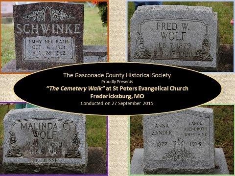 GCHS Sponsored Cemetery Walk at St Peters Evangelical Church, Fredericksburg, MO 27 Sept. 2015