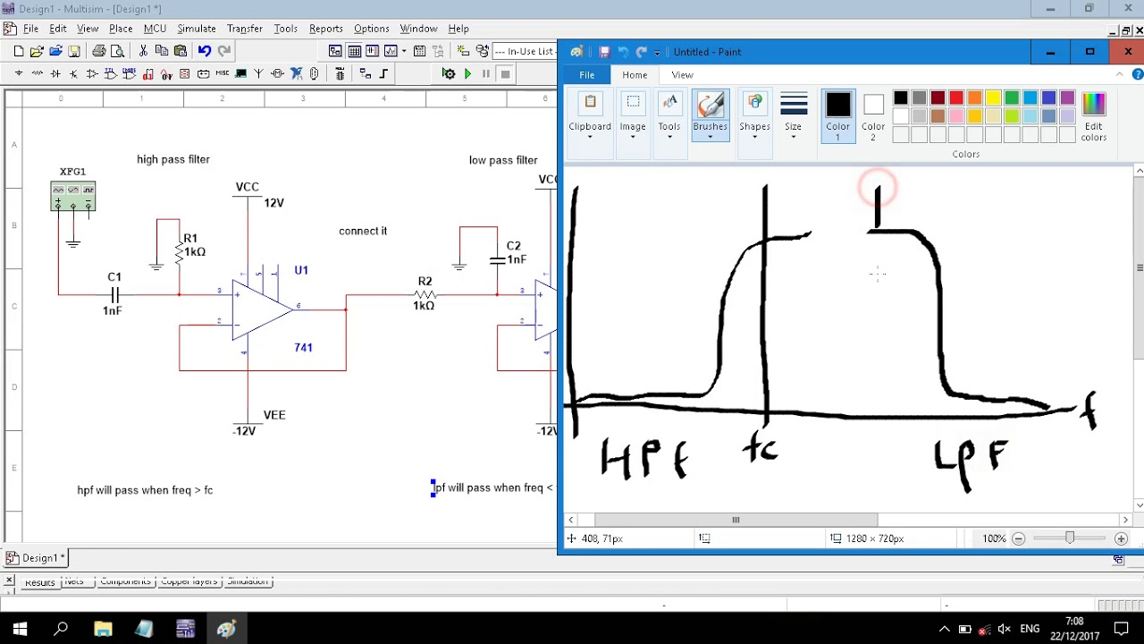 Op Amp Band Pass Filter 1st Order Circuit Simulation In Multisim How To Build Notch Diagram