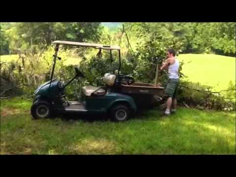 Brush transport and dumping with Easy Gofer® golf cart cargo accessory