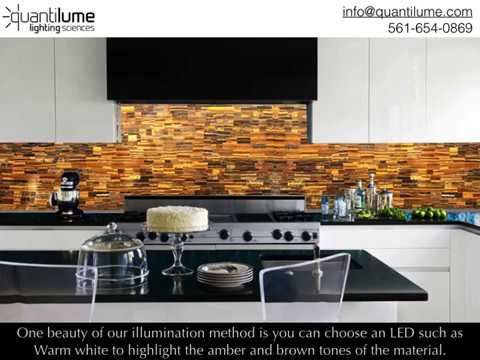 Quantilume Illuminated Kitchen Backsplash - YouTube on lighted pot rack kitchen, mirror and light kitchen, lighted cabinet kitchen, can lights in kitchen,