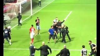 Brest - Nancy Goalkeeper lost the plot and causes pitch invasion