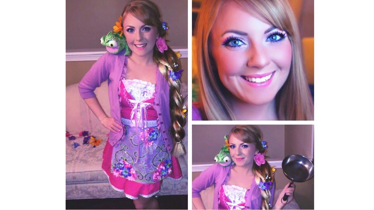 Tangled Rapunzel Halloween Makeup Hair u0026 Costume!  sc 1 st  YouTube & Tangled Rapunzel Halloween Makeup Hair u0026 Costume! - YouTube