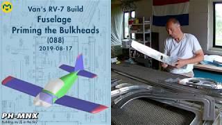Van's RV-7 Build Fuselage Priming the Bulkheads (088)
