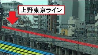 新幹線の上に設けられた上野東京ラインの高架軌道を見下ろすことができるる首都高速からの車窓