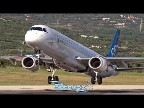 RARE! Montenegro Airlines - Embraer 195LR 4O-AOC - Takeoff from Split Airport LDSP/SPU