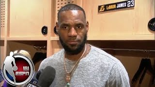 LeBron James reacts to Lakers' preseason win vs Warriors and playing with Lonzo Ball | NBA Interview