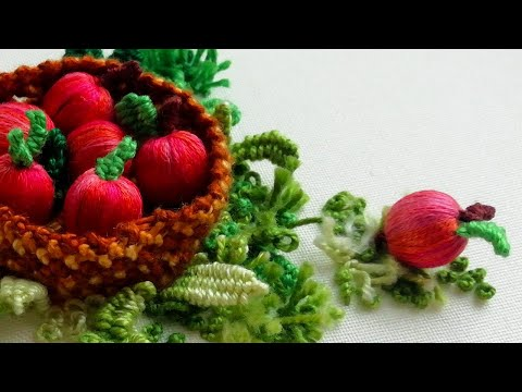 Объёмная Вышивка: Как вышить мини яблоко